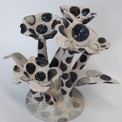 'Dubbele plakjes vaas', steengoed, 58 cm hoog, 2018