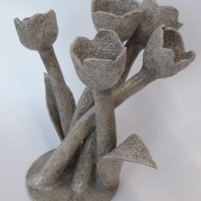 'Bosje potloodtulpen', keramiek, potlood, tegellijm, lak, 35 cm hoog, 2017