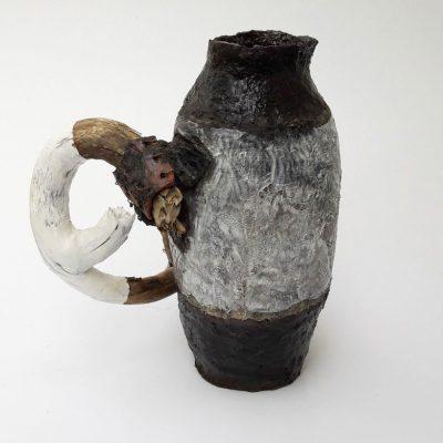 'Vaas met olijfhout'( 3 ), keramiek, hout, ijzerdraad, 22 cm hoog, 2016