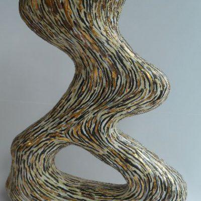 'Vaas met goud en een gat', keramiek, goudluster, 37 cm hoog , 2013
