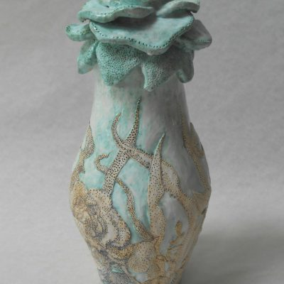 'Turquoise vaas met gaatjes', keramiek, 24 cm hoog , 2013