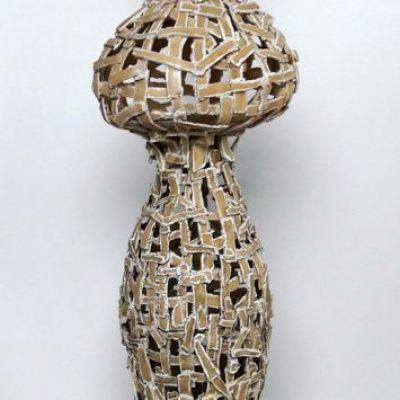 'Undress a vase'( 3), keramiek, tegellijm, 140 cm hoog, 2019