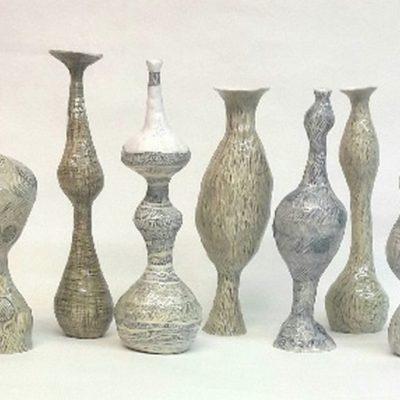 Potloodvaasjes, keramiek,potlood ,glazuur, 22cm hoog 2020