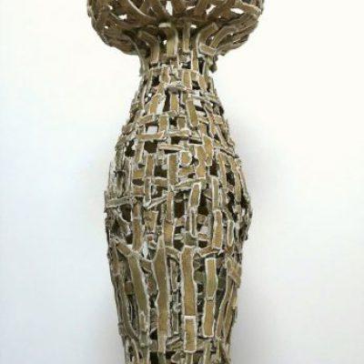 'Undress a vase''( 1), keramiek,tegellijm, 140 hoog, 2019